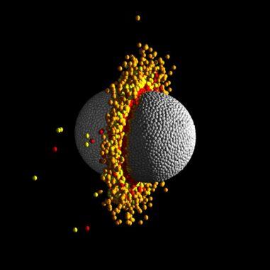 Diese Grafik zeigt ein Bild aus einer hydrodynamischen Simulation einer Frontalkollision zwischen zwei Planeten mit jeweils zehn Erdmassen bei hoher Geschwindigkeit. Der Temperaturbereich geht von kühl (grau) bis heiß (rot). (Credit: Zoe Leinhardt and Thomas Denman, University of Bristol)
