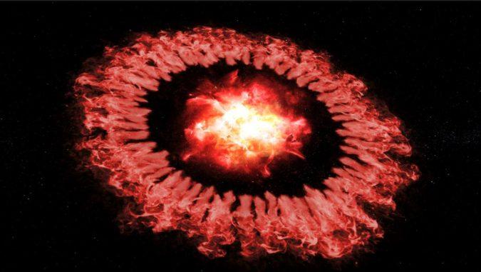 Künstlerische Darstellung der Supernova SN 1987A und ihrer Schockwelle, die ihren äußeren Ring durchquert und einen Großteil des Staubs zerstört (siehe das Video unten). (Credits: NASA / SOFIA / Symbolic Pictures / The Casadonte Group)