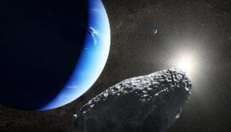 Künstlerische Darstellung des winzigen Neptunmondes Hippocamp mit Neptun und dem größeren Mond Proteus (oben rechts). (Credits: NASA, ESA and J. Olmsted (STScI))