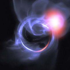 Visualisierung einer simulierten Ausbruchsaktivität und Materiewolken um das supermassive Schwarze Loch im galaktischen Zentrum. (Credits: ESO, Gfycat)