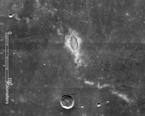 Der Swirl Reiner Gamma, aufgenommen vom Lunar Reconnaissance Orbiter (LRO) der NASA. (Credits: NASA LRO WAC science team)