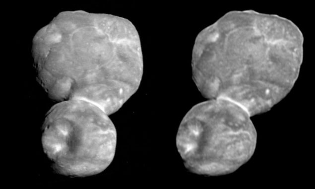"Parallelansicht von Ultima Thule. Wenn man ""durch"" die Bilder guckt, entsteht ein Stereo-Bild. (Credits: NASA / Johns Hopkins University Applied Physics Laboratory / Southwest Research Institute / National Optical Astronomy Observatory)"