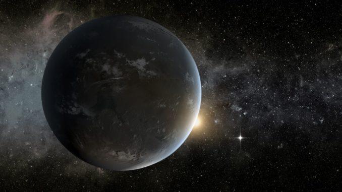 Künstlerische Darstellung eines Planeten in der habitablen Zone eines K-Sterns. (Credits: NASA Ames / JPL-Caltech / Tim Pyle)