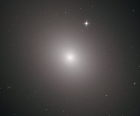 Hubble-Aufnahme der Riesengalaxie Messier 49. (Credits: ESA / Hubble & NASA, J. Blakenslee, P Cote et al.)