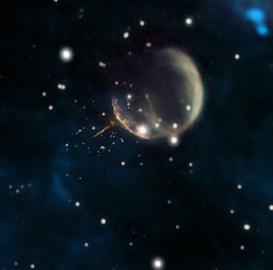 Der Supernova-Überrest CTB 1 ist die blasenförmige Struktur. Der schmale Schweif des Pulsars J0002 ist deutlich erkennbar. (Credits: Composite by Jayanne English, University of Manitoba, using data from NRAO / F. Schinzel et al., DRAO / Canadian Galactic Plane Survey and NASA / IRAS)