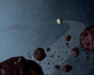 Künstlerische Darstellung des Gasriesen Jupiter und der beiden Trojaner-Gruppen. (Credits: NASA / JPL-Caltech)