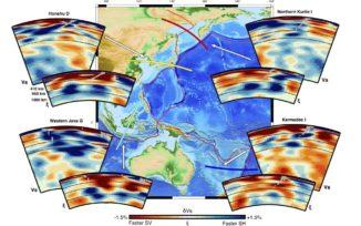 Querschnitte durch den Erdmantel bis in eine Tiefe von 1.400 Kilometern zeigen Veränderungen in seinem Strömungsverhalten, weil alte Meeresböden in das tiefe Erdinnere absinken. (Credits: Ana M. G. Ferreira et al.)