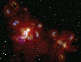 Die Sternentstehungsregion W51, basierend auf Daten des SOFIA-Teleskops und des Sloan Digital Sky Survey. (Credits: NASA / SOFIA / Lim and De Buizer et al. and Sloan Digital Sky Survey)