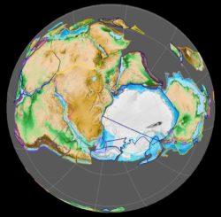 Der Superkontinent Gondwana vor rund 420 Millionen Jahren. Zu der Zeit lagen Südamerika und Antarktika noch nahe beieinander. Dann begannen sie auseinanderzudriften, was im Perm mit vulkanischer Aktivität an verschiedenen Orten einherging. (Credit: Wikipedia; User: Fama Clamosa; CC BY-SA 4.0)