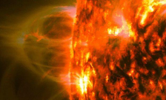 Abregnende Nullpunkt-Topologien sind bislang übersehene magnetische Strukturen, hier dargestellt in zwei Wellenlängen des extremen Ultraviolettbereichs. (Credits: NASA's Solar Dynamics Observatory / Emily Mason)