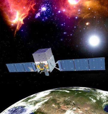 Künstlerische Darstellung des Weltraumteleskops Fermi im Orbit. Fermi beobachtet im Gammabereich des elektromagnetischen Spektrums zum Beispiel Gamma-Blazare. (Credits: NASA / Fermi)