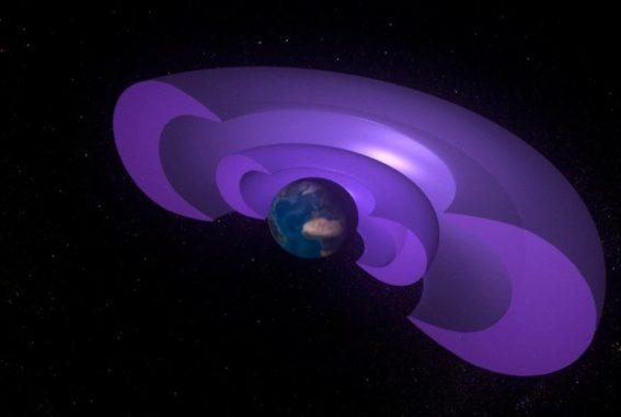 Schematische Darstellung der beiden Van-Allen-Gürtel als Querschnitt. (Credits: NASA's Conceptual Image Lab / Walt Feimer)