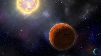 Künstlerische Darstellung von HD 21749c, dem ersten erdgroßen Planeten, der von TESS gefunden wurde, und seinem Schwesterplaneten HD 21749b, einem warmen Subneptun. (Credit: Illustration by Robin Dienel, courtesy of the Carnegie Institution for Science)