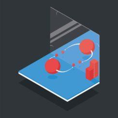 Schematische Darstellung der CP-Symmetrie mit einem Teilchen und dem Spiegelbild seines Antiteilchens, hier einem D0-Meson (links) und einem Anti-D0-Meson (rechts). (Credit: Image: CERN)