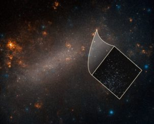 Ein Bild der Großen Magellanschen Wolke. Das kleine Bild stammt vom Hubble-Teleskop und zeigt viele Sternhaufen in der Zwerggalaxie. Zu den Sternen gehören auch Cepheiden, die für die Messung der Distanzen herangezogen werden. (Credits: NASA, ESA, A. Riess (STScI / JHU) and Palomar Digitized Sky Survey)