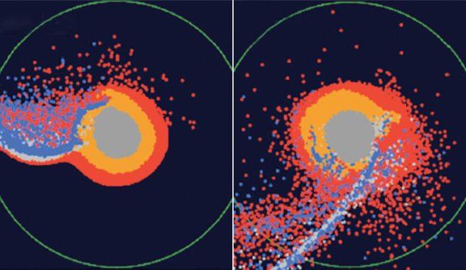 Einzelbilder aus der Simulation der Mondentstehung durch einen gigantischen Einschlag. In der Bildmitte liegt die Proto-Erde. Rot kennzeichnet Material aus dem Magmaozean der Proto-Erde. Blau markiert Material des Impaktors. (Credit: Hosono, Karato, Makino, and Saitoh)