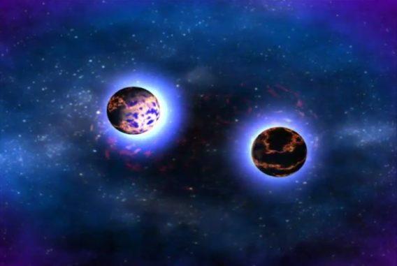 Standbild aus einer Simulation, die den Ablauf einer Kollision zwischen zwei Neutronensternen beschreibt. (Credits: NASA / Goddard Space Flight Center)