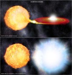 Illustration eines Szenarios, bei dem ein Weißer Zwerg Materie von einem Begleitstern abzieht und schließlich explodiert. (Credits: NASA / CXC / SAO)