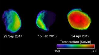 Drei Ansichten des Marsmondes Phobos, basierend auf Daten der Infrarotkamera THEMIS an Bord der Raumsonde Mars Odyssey. (Credits: NASA / JPL-Caltech / ASU / SSI)