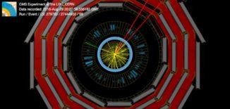 Eine Proton-Proton-Kollision, bei der ein Myon-Antimyon-Paar (rot), ein Photon (grün) und ein fehlender Impuls entstanden. (Credits: Image: CERN)