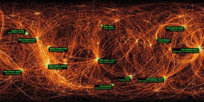 Dieses Bild basiert auf 22 Monaten wissenschaftlicher Datensammlung des NICER-Experiments an Bord der Internationalen Raumstation. Es beobachtet den gesamten Himmel im Röntgenbereich. (Credits: NASA / NICER)