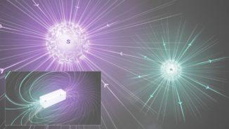 Künstlerische Darstellung von magnetischen Monopolen (großes Bild) und einem magnetischen Dipol (kleines Bild). (Credit: Image: CERN)