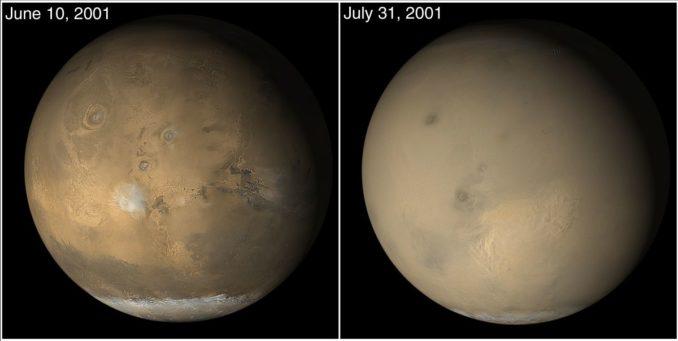 Staubstürme auf dem Mars im Juni/Juli 2001, aufgenommen vom Mars Global Surveyor. (Credits: NASA / JPL-Caltech / Malin Space Sciences Systems)