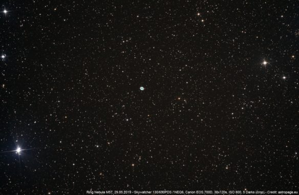 Der Ringnebel M57 im Sternbild Leier. (Credits: astropage.eu)