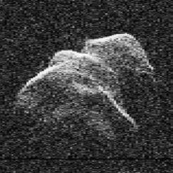 Radaraufnahme des erdnahen Objekts Toutatis. (Credits: NASA and Steve Ostro, JPL)