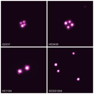 Chandra-Aufnahmen von vier Quasaren, die dem Gravitationslinseneffekt unterliegen. Dadurch entstehen Mehrfachbilder desselben Objekts. (Credits: NASA / CXC / Univ. of Oklahoma / X. Dai et al.)