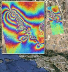 Karte der Oberflächendeformationen im Süden Kaliforniens aufgrund der Erdbeben vom 4. und 5. Juli 2019. (Credits: NASA / JPL-Caltech)