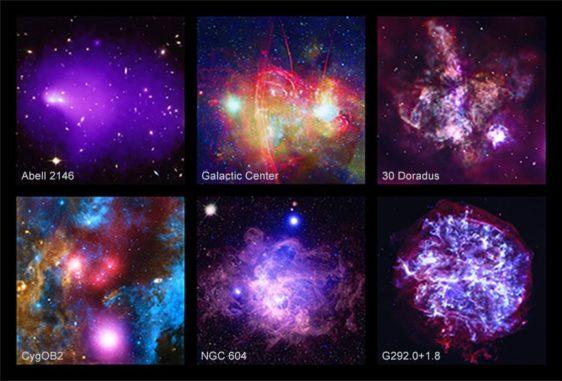 Die Bilder zum 20. Jahrestag des Chandra-Teleskops: Abell 2146, Sagittarius A*, 30 Doradus, Cygnus OB2, NGC 604 und G292 (Beschreibungen und Erklärungen siehe Text). (Credits: NASA / CXC / SAO)