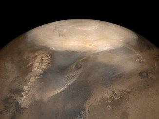 Staubstürme auf dem Mars könnten sich ähnlich verhalten wie trockene Wirbelstürme. (Credit: NASA / JPL / Malin Space Science Systems)