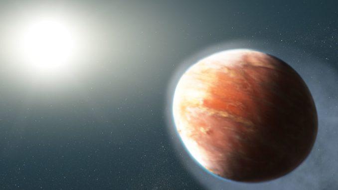 Künstlerische Darstellung des footballförmigen Exoplaneten WASP-121b mit seinem Zentralstern. (Credits: NASA, ESA, and J. Olmsted (STScI))