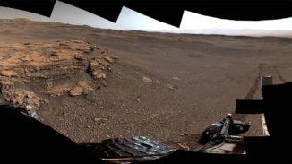 Mars-Panorama, aufgenommen vom Rover Curiosity an der Teal Ridge Formation. (Credits: NASA / JPL-Caltech / MSSS)