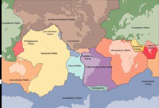 Die Lithosphärenplatten der Erde. (Credits: USGS / Wikipedia / gemeinfrei)