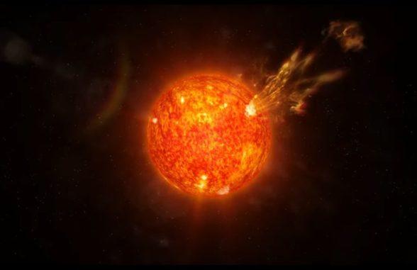 Künstlerische Darstellung des Sonnenwindes. (Credits: NASA's Goddard Space Flight Center / Conceptual Image Lab)
