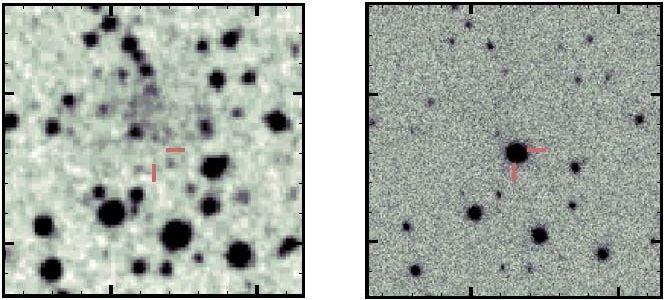 Vorher-Nachher-Bilder der Kernkollaps-Supernova ASASSN-15oz in der Galaxie HIPASSJ1919-33. (Credits: Bostroem et al. 2019)