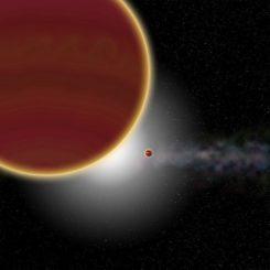 Künstlerische Darstellung des Systems Beta Pictoris. Mindestens zwei Riesenplaneten umkreisen den hier nicht sichtbaren Stern: Beta Pictoris c (vorne) und Beta Pictoris b (hinten). Im Hintergrund ist die Gas- und Staubscheibe dargestellt. (Credits: Rubini / AM Lagrange)
