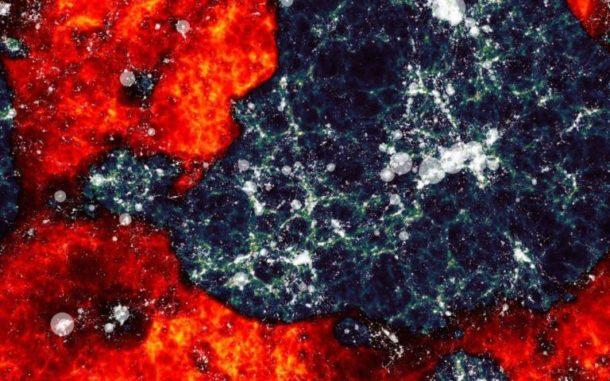 Numerische Simulation von neutralem Wasserstoff (Rot), der in der Reionisierungsepoche von den ersten Sternen (Weiß) langsam aufgeheizt wird. Die Simulation wurde vom Dark-Ages Reionisation And Galaxy Observables from Numerical Simulations (DRAGONS) Programm erstellt. (Credit: Paul Geil and Simon Mutch)
