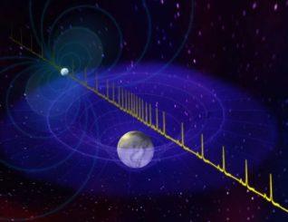 Künstlerische Darstellung des Pulses eines massereichen Neutronensterns, der aufgrund der Passage eines Weißen Zwergs zwischen dem Neutronenstern und der Erde verzögert eintrifft. (Credit: B. Saxton, NRAO / AUI / NSF)