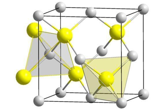 Schematischer Aufbau der Kristallstruktur von Galliumarsenid, das für die Quantenpunkte verwendet wurde. (Credits: Wikipedia / User: Solid State / gemeinfrei)