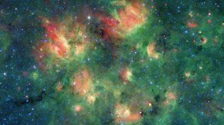 Eine Sternentstehungsregion im Sternbild Adler, aufgenommen vom Weltraumteleskop Spitzer in infraroten Wellenlängen. (Credits: NASA / JPL-Caltech)