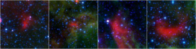 Vier Bow-Shocks aus warmem Staub. Sie entstehen, wenn sich Sterne mit starken stellaren Winden schnell durch das interstellare Medium aus Staub und Gas bewegen. (Credits: NASA / JPL-Caltech)