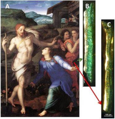 A: Das Bild Noli me tangere von Angolo Bronzino, ca. 1560. B zeigt die Verdunklung grüner Kupferpigmente in einem dem Licht ausgesetzten Bereich. C zeigt einen durch Rahmen geschützten Bereich, wo die Verdunklung nicht auftrat. (Credit: Inorganic Chemistry, M. Alter et al, 2019)