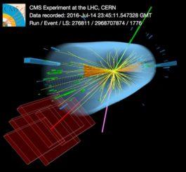 Ein Kandidatenereignis für ein Topquark/Antitopquark-Paar am CMS-Detektor. (Credits: Image: CMS / CERN)