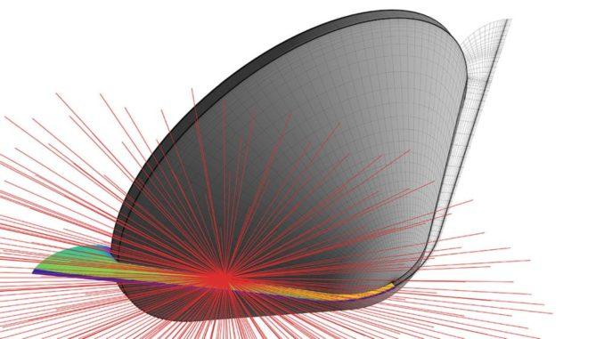 Grafische Darstellung des Hochtemperaturstromfeldes um die Galileo-Kapsel beim Eintritt in die Atmosphäre Jupiters. (Credits: Luís S. Fernandes)