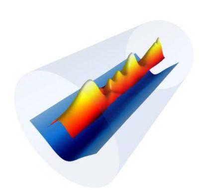 Schematische Darstellung der neuen Beschleunigungstechnik. (Credit: Gennadiy Bagdasarov / Keldysh Institute of Applied Mathematics; Anthony Gonsalves and Jean-Luc Vay / Berkeley Lab)
