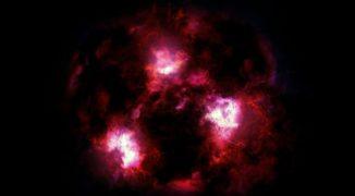 Künstlerische Darstellung einer massereichen Galaxie im jungen Universum. (Credits: James Josephides / Christina Williams / Ivo Labbe)