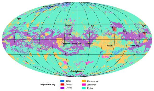 Vollständige geologische Karte des Saturnmondes Titan, basierend auf Cassini-Daten. (Credits: NASA / JPL-Caltech / ASU)